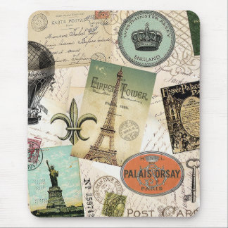 Vintage Travel collage mousepad