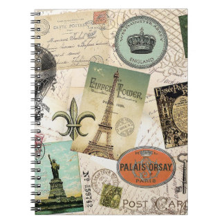 Vintage Travel collage notebook