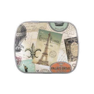 Vintage Travel collage tin can filled with mints Candy Tins