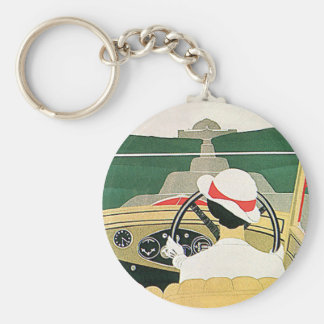 Vintage Travel, Convertible Car in the Country Keychain