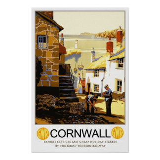 Vintage travel,Cornwall Poster