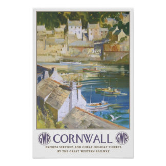 Vintage travel,Cornwall Poster