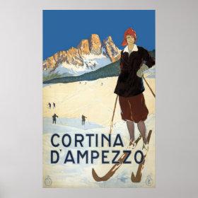 Vintage Travel Cortina d'Ampezzo, Italy Ski Alps Poster