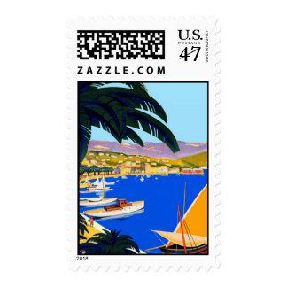 Vintage Travel Cote D'Azur Palms Boats Stamp