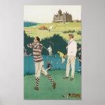 Vintage Travel Cruden Bay Playing Golf Poster