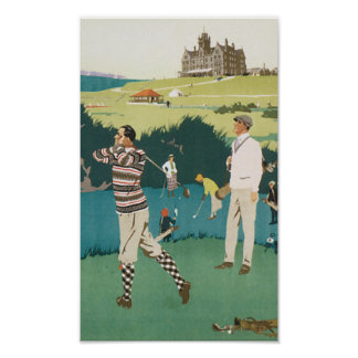 Vintage Travel Cruden Bay Playing Golf Poster