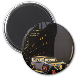 Vintage Travel, Cruise Ship and Antique Car Magnet