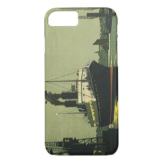 Vintage Travel, Cruise Ship in a Harbor iPhone 8/7 Case