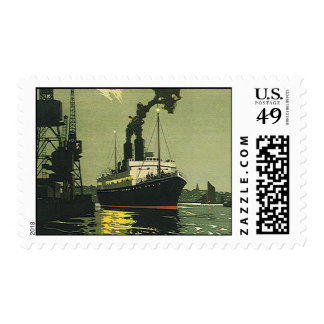 Vintage Travel, Cruise Ship in a Harbor Postage