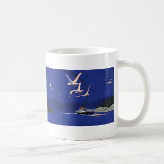 Vintage Travel, Cruise Ship Vacation in Alaska Coffee Mug