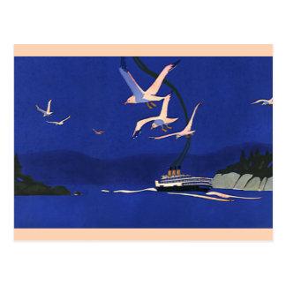 Vintage Travel, Cruise Ship Vacation in Alaska Postcard