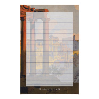 Vintage Travel Design of the Roman Forum Lined Stationery