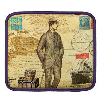 Vintage travel diary Paris man boat stamped postal iPad Sleeves