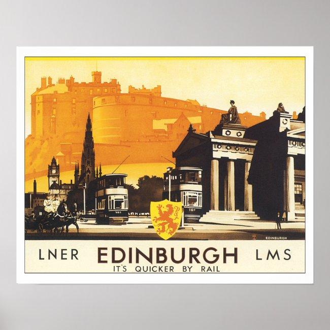 Vintage Travel Edinburgh Scotland Poster