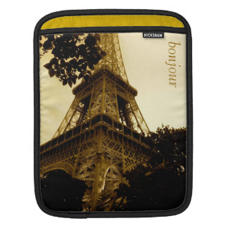 Vintage Travel, Eiffel Tower, Paris France Sleeve For iPads