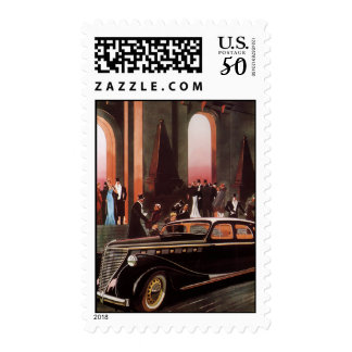 Vintage Travel, Elegant Stretch Limo Limousine Car Postage