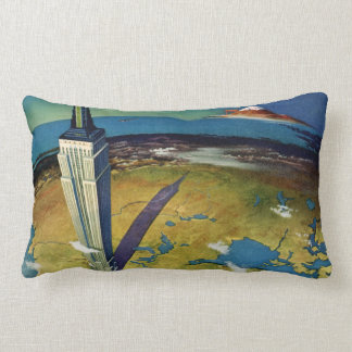 Vintage Travel Empire State Building New York City Lumbar Pillow