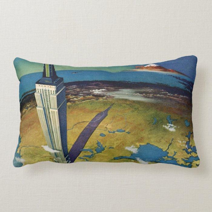 Vintage Travel Empire State Building New York City Lumbar Pillow