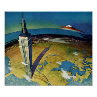 Vintage Travel Empire State Building New York City Poster