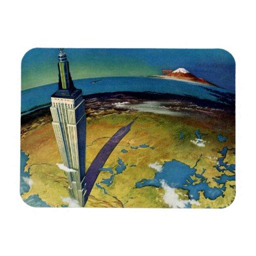 Vintage Travel Empire State Building New York City Rectangular Photo Magnet