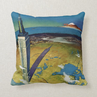 Vintage Travel Empire State Building New York City Throw Pillow