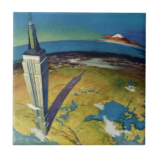 Vintage Travel Empire State Building New York City Tile