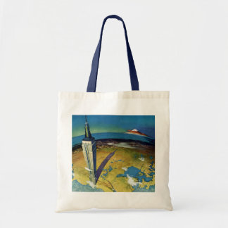 Vintage Travel Empire State Building New York City Tote Bag