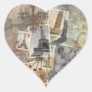 Vintage Travel Europe Photographs Paris Heart Sticker