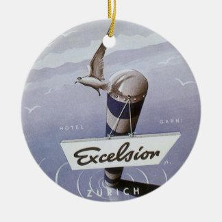 Vintage Travel Excelsior Hotel Zurich Switzerland Ceramic Ornament