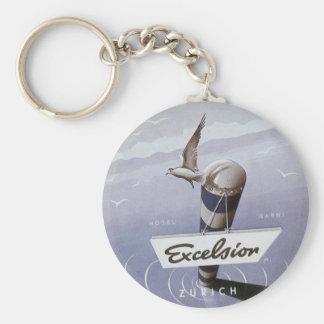 Vintage Travel Excelsior Hotel Zurich Switzerland Keychain