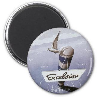 Vintage Travel Excelsior Hotel Zurich Switzerland 2 Inch Round Magnet