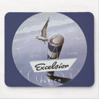 Vintage Travel Excelsior Hotel Zurich Switzerland Mouse Pad