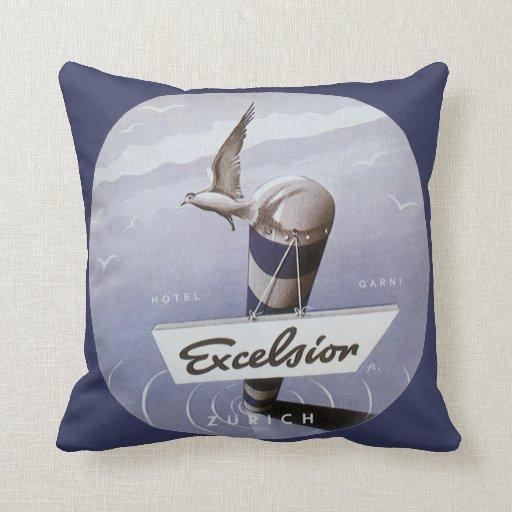 Vintage Travel Excelsior Hotel Zurich Switzerland Pillow
