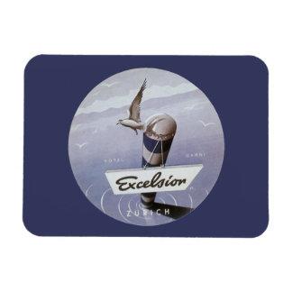 Vintage Travel Excelsior Hotel Zurich Switzerland Rectangular Photo Magnet