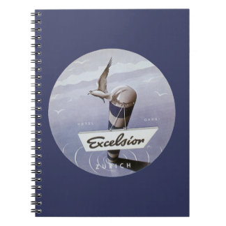 Vintage Travel Excelsior Hotel Zurich Switzerland Spiral Notebook