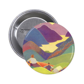 Vintage Travel, Family Picnic, Mountain Vacation Button