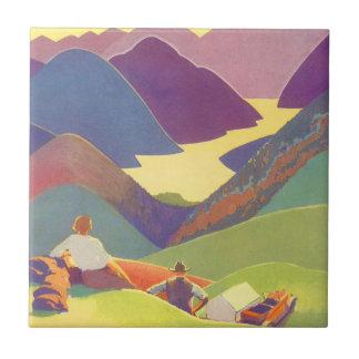 Vintage Travel, Family Picnic, Mountain Vacation Ceramic Tile