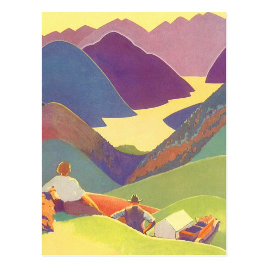 Vintage Travel, Family Picnic, Mountain Vacation Postcard