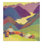 Vintage Travel, Family Picnic, Mountain Vacation Posters