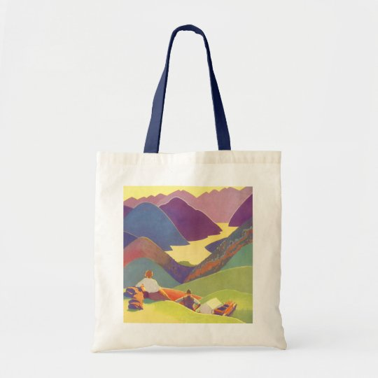 Vintage Travel, Family Picnic, Mountain Vacation Tote Bag