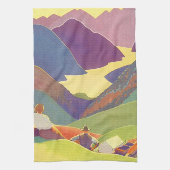 Vintage Travel, Family Picnic, Mountain Vacation Towel