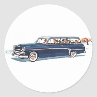 Vintage Travel, Family Vacation in a Station Wagon Classic Round Sticker