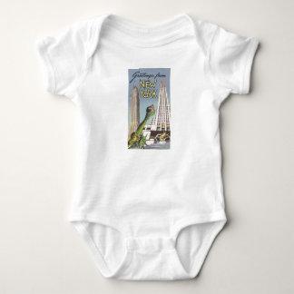 Vintage Travel, Famous New York City Landmarks Baby Bodysuit