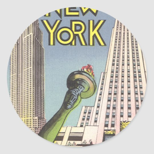 Vintage Travel, Famous New York City Landmarks Classic Round Sticker