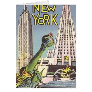 Vintage Travel, Famous New York City Landmarks Greeting Card