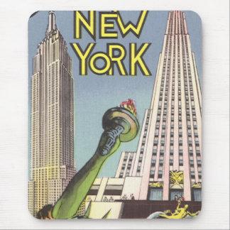 Vintage Travel, Famous New York City Landmarks Mouse Pad