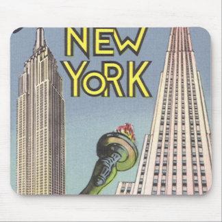 Vintage Travel, Famous New York City Landmarks Mousepad