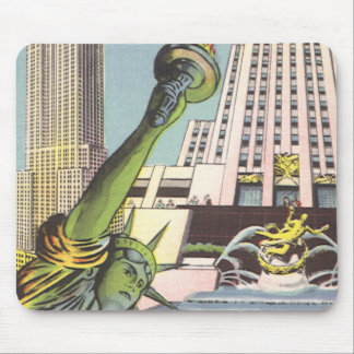 Vintage Travel, Famous New York City Landmarks Mouse Pads