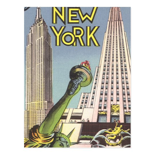 Vintage Travel, Famous New York City Landmarks Postcard
