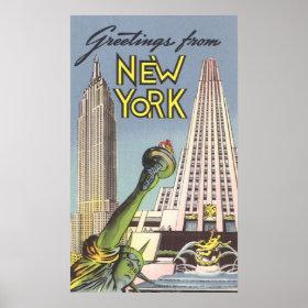 Vintage Travel, Famous New York City Landmarks Print